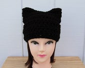Solid Black Pussy Cat Hat with Kitty Ears, Handmade Soft 100% Acrylic Crochet Knit Winter Beanie Women's Rights, Ready to Ship in 2 Days