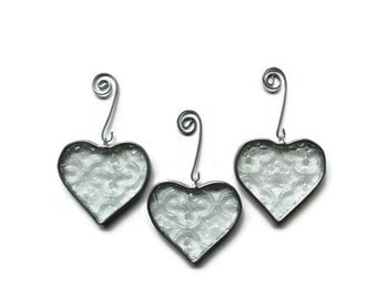 Clear Textured Glass Hearts - Set of 3 Holiday Ornaments
