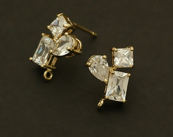 SI-214-GD / 2 Pcs - Three Figures Stud Earrings, Triple CZ Stone Ear Posts, 16K Gold Plated, with .925 Sterling Silver Post / 12mm x 14mm