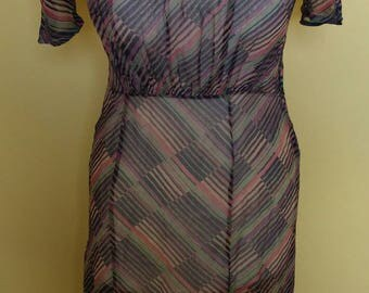 1930s chiffon stripe dress with puff sleeves and collar