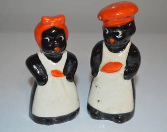 Old Black Memorabalia Salt and Pepper Shakers - vintage mammy chef