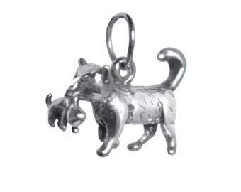 Momma Cat and Kitten Sterling Silver Charm/Pendant