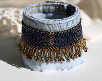 Blue Jean Beaded Fringe Cuff