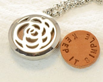 AA Or Al Anon Or NA Or Nar Anon Recovery Aromatherapy 316L Stainless Steel Locket With Hand Stamped Secret Message Leather Pads
