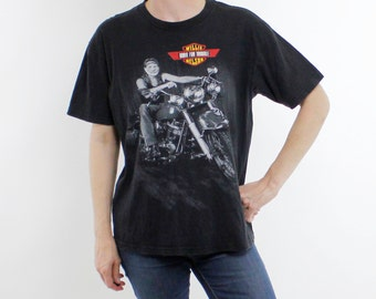 "Vintage 90's Willie Nelson / Harley Davidson t-shirt, ""Born For Trouble"", black cotton t-shirt, lightly worn in - Large"