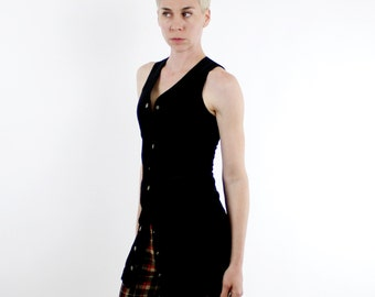 Vintage 90's GAP brand black velvet vest dress, snap buttons down the center, fitted shape - XS