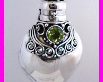 August green peridot birthstone Sterling silver Heart Locket Prayer Box bottle Pendant with PR8