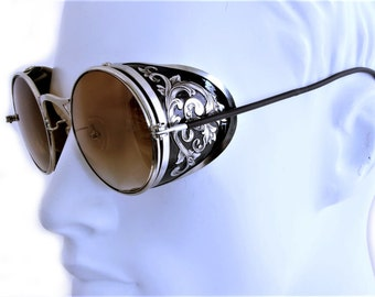 Steampunk Goggles Aviator Sunglasses Silver Side Shields Victorian engrave vintage Driving glasses Gradient Brown Shade