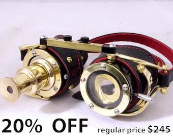 Steampunk goggle IRIS APERTURE and Telescopic Telescope Brass LARP Black