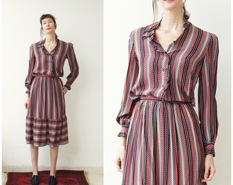 Guy Laroche Paris Silk Blouse and Skirt, Designer Silk Dress Set XS S, Silk Ensemble