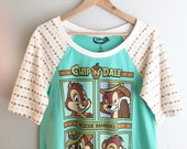 Women & Girls - Upcycled Rescue Rangers Raglan Tee, made to order (sizes girls 6-womens L)