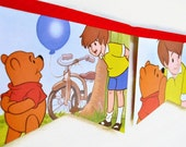 WINNIE the POOH and HONEY Tree Banner Vintage Little Golden Book Bunting Banner Paper Children Repurposed Decoration eco friendly gift