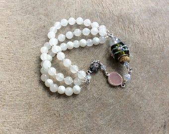 Snow quartz cuff bracelet / wire wrapped gemstone jewelry / layered beaded bracelet with teal gemstones