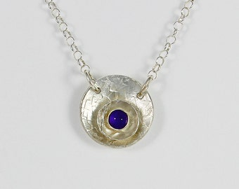 Handcrafted Sterling Silver and Amethyst Round Pendant Necklace February Birthstone Textured Surface Artisan Jewelry Design 7116485251015