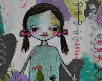 Mixed media collage art print, Whimsical Folk Art Girl, Bird Print, LDS Art,  Christian Art, Primitive art, stillness- by Judie Parsons