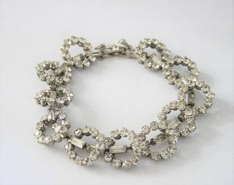 Vintage crystal bracelet. Baguette crystal bracelet. Rhinestone bracelet