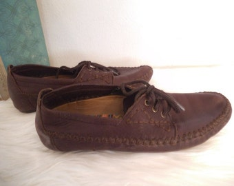 Vintage Hush Puppies Moccasins ~ Soft Brown Leather ~ Woman's 7 M ~ Soft on the Earth