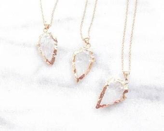 Gold dipped Arrowhead jewelry-arrow necklace-quartz arrowhead-raw tribal necklace