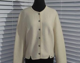 Geiger Ivory Cardigan, Vintage Cardigan, Cream Cardigan, Vintage Austria