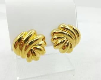 Premier Gold tone Clip  Earrings High Fashion Designer