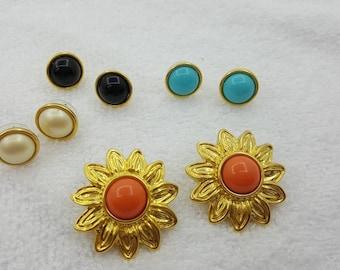 Joan Rivers Convertible Colorful  Pierced Earrings Gold tone  Earring Jackets