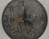 18 Inch LAKE TIME CLOCK in Bold Shades of Gray Highlighted with Charcoal and Jumbled Numbers