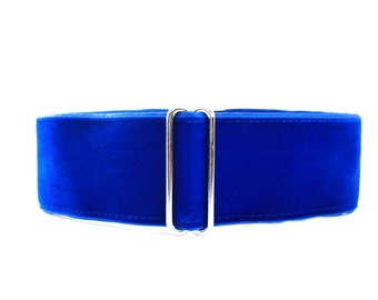Velvet Martingale Collar, Velvet Dog Collar, 1.5 Inch Martingale Collar, Blue Dog Collar, Whippet Collar, Greyhound Collar