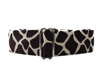 Giraffe Dog Collar, Giraffe Martingale Collar, 1.5 Inch Martingale Collar, Brown Dog Collar, Made in Canada, Sighthound Collar
