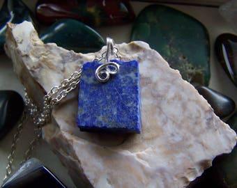 Natural Blue Lapis Lazuli and Pyrite Gemstone Pendant