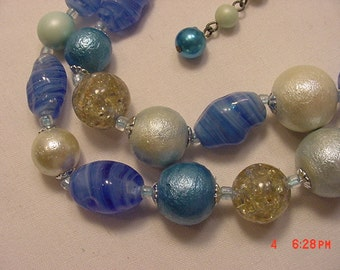 Vintage Blues Glass & Plastic Beads Two Strand Adjustable Necklace  17 - 66