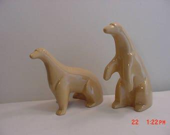 Vintage Pair Of Ceramic Polar Bear Figurines  17 - 698