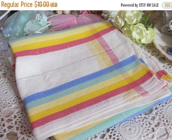 ON SALE Vintage Kitchen Tea Towel-Stripes-Unused
