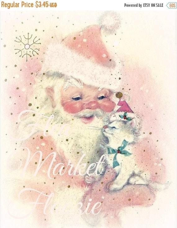 ON SALE Mid Century Christmas Image-SANTA and Kitty-Shabby-Chic-Retro-Christmas Gift Tags
