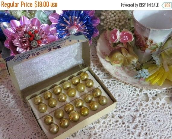 ON SALE Vintage Tiny Feather Tree Glass Ornaments-Original Box-Shiny Brite-2 Dozen-GOLD