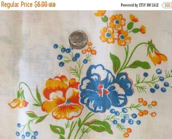 ON SALE Vintage Feedsack Fabric-Feed sack-Orange and Blue Floral-Fat Quarter-Half Yard