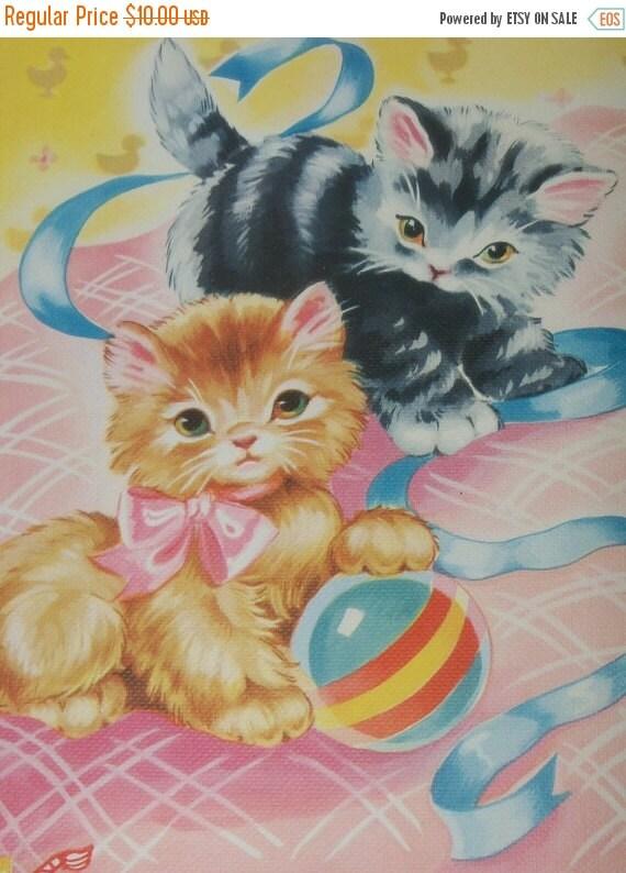 ON SALE Vintage Ruth Newton Nursery Rhyme Book Print-Baby Kittens