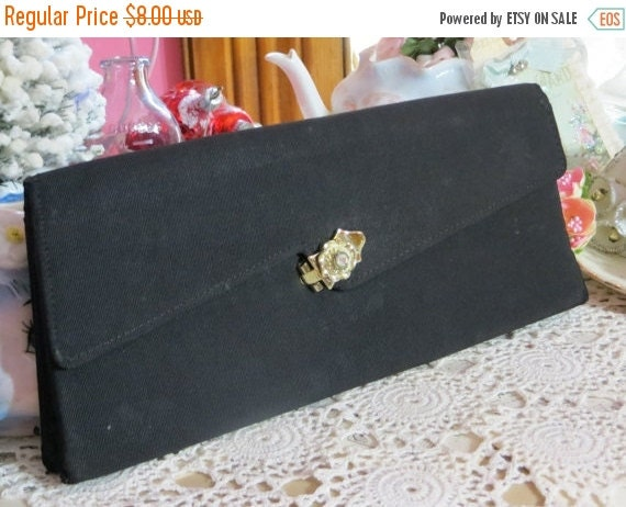 ON SALE Vintage Ladies Black Clutch Purse-Rhinestone Closure-1950s