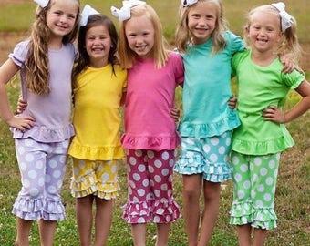 Monogram Ruffle Set, Easter, Shorts, Capris, Spring, Summer, Siblings, Polka, Ruffles, Pink, Lavender, Yellow, Green, Aqua, Navy, Orange,Red