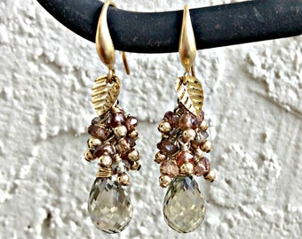 Hand Made Earrings,Sapphire And Quartz Wire Wrapped Waterfall Earrings,Gemstone And Gold Wire Wrapped Earrings
