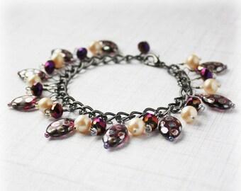 50% OFF SALE Crystal Bracelet Cluster Bracelet Glass Bead Bracelet Cha Cha Bracelet Boho Bracelet Elegant Bracelet Shaggy Bracelet Purple Br