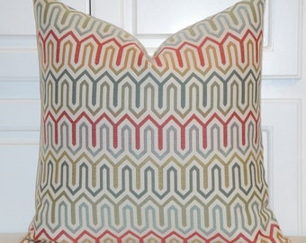 Decorative Pillow Cover - Geometric Pillow - Red Green Aqua - Accent Pillow - Toss Pillow