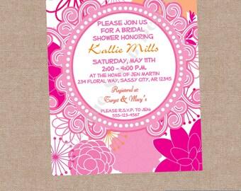Sassy Floral Bridal Shower Invitation Style DI2189 DIGITAL FILE - Printable