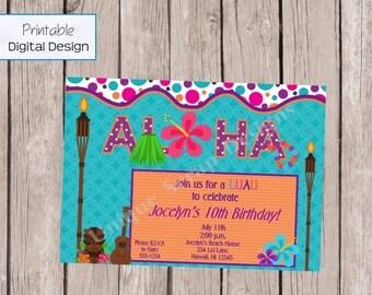 Let's Luau Birthday Party Invitation Style DI2133 DIGITAL FILE - Printable