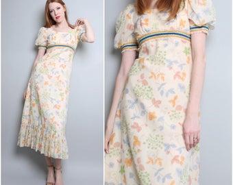 1970's Long Maxi Dress / 70's Floral Prairie / Empire Waist / Extra Small