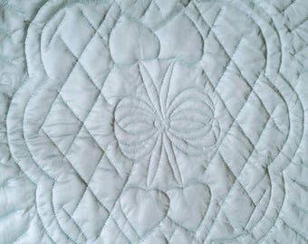 Hemstitched, Crochet, Blue Tricot Baby Quilt with quilted Hearts