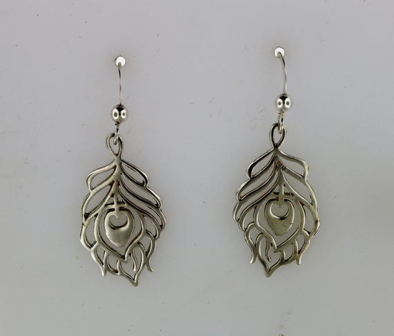 Peacock Feather Charm Earrings in Sterling Silver