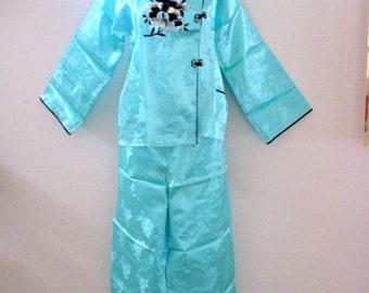 Vintage 60s Blue Satin Chinese Pajamas - Embroidered Asian Japanese Pajamas - NOS Pale Blue Cheongsam Pajamas - Size Medium estimated