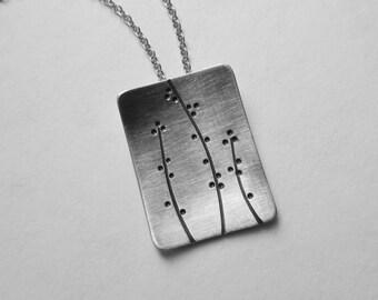 Winter Berries Pendant rectangle necklace oxidized silver asymmetric patt