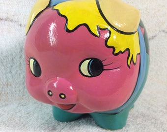 Piggy Bank Ceramic Hand Painted Colorful Retro Sealed with No Opening Color Blocked