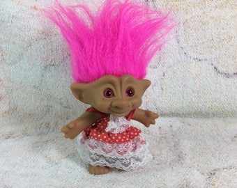 Vintage Ace Novelty Co Jewel Belly Troll Doll 1990s Kids Toy Pink Hair Original Outfit Adorable